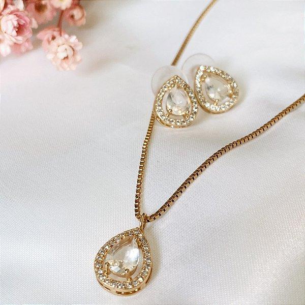 Conjunto Gotinha Mini Cravejada Cristal Dourada