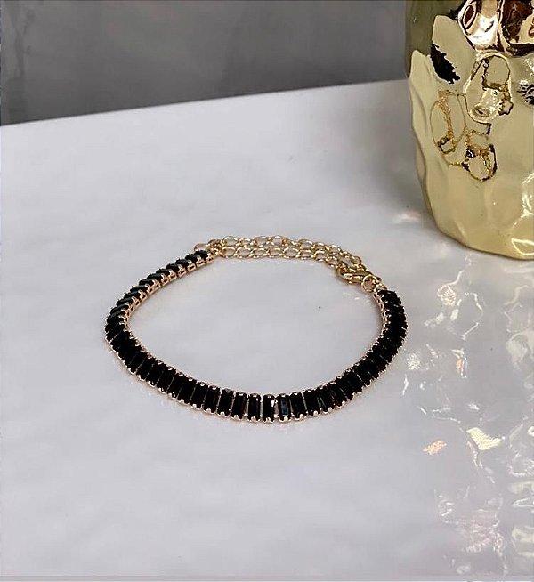 Pulseira Elegancy Zircônia Preta Dourada