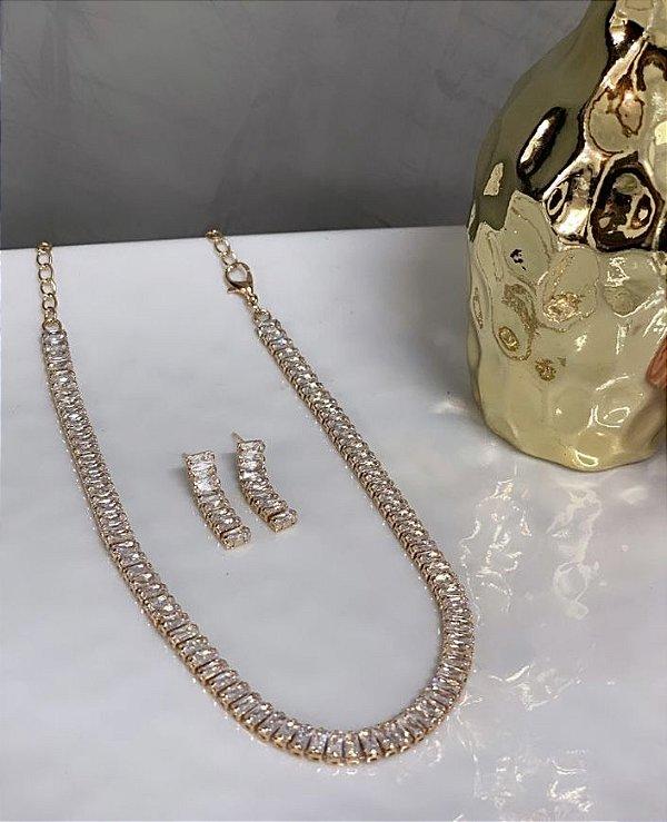 Conjunto Chocker e Brinco Elegancy Zircônia Cristal Dourado