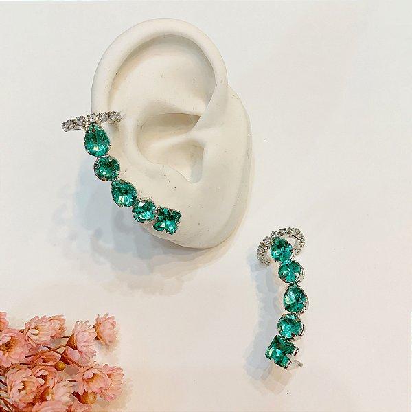ear cuff com piercing fake turmalina prata