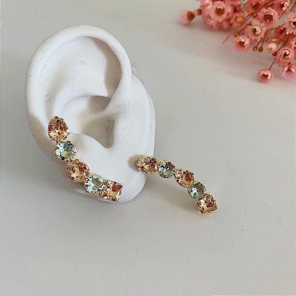 ear cuff pessego e acqua dourado