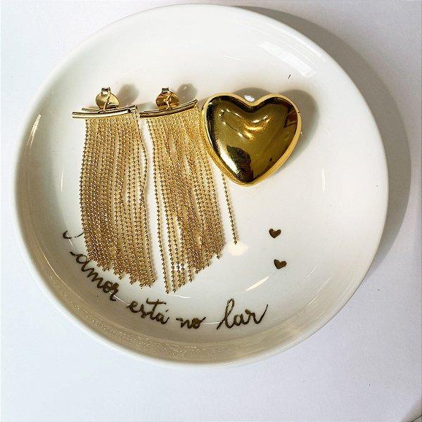 brinco franja grande dourado
