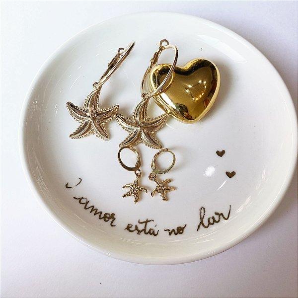 argola dupla estrela do mar dourada