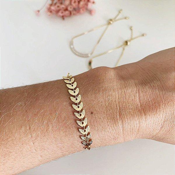 Pulseira ramos ajustável dourada