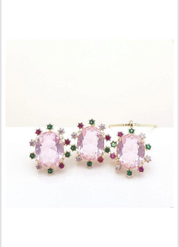 conjunto pedra oval rosa cravejado zircônias coloridas dourado
