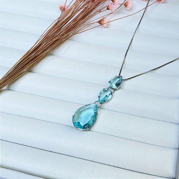 colar gotas de luxo acqua prata