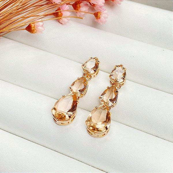 Brinco luxury gotas pêssego dourado