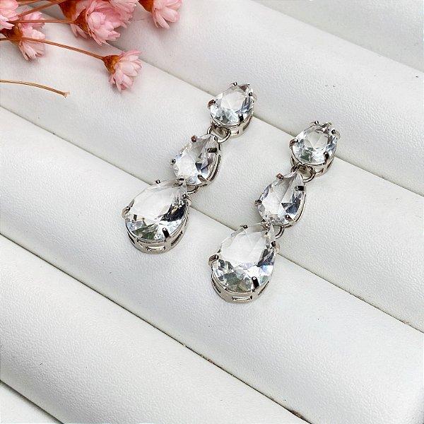 brinco luxury gotas cristal prata