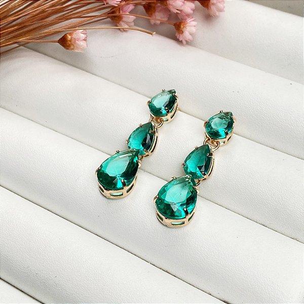 brinco luxury gotas verde turmalina dourado