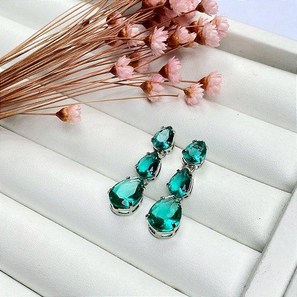 brinco luxury gotas verde turmalina prata