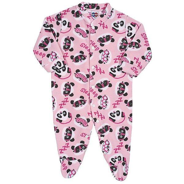 Macacão Pijama Rosa Bebê Soft - Tip Top