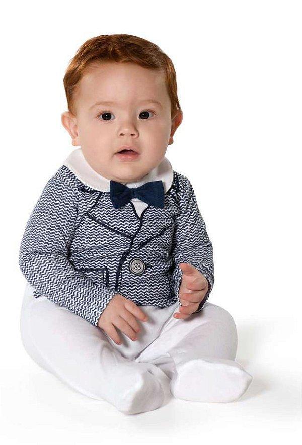 Macacão Bebê Divertido Paletó em Suedine - Tip Top