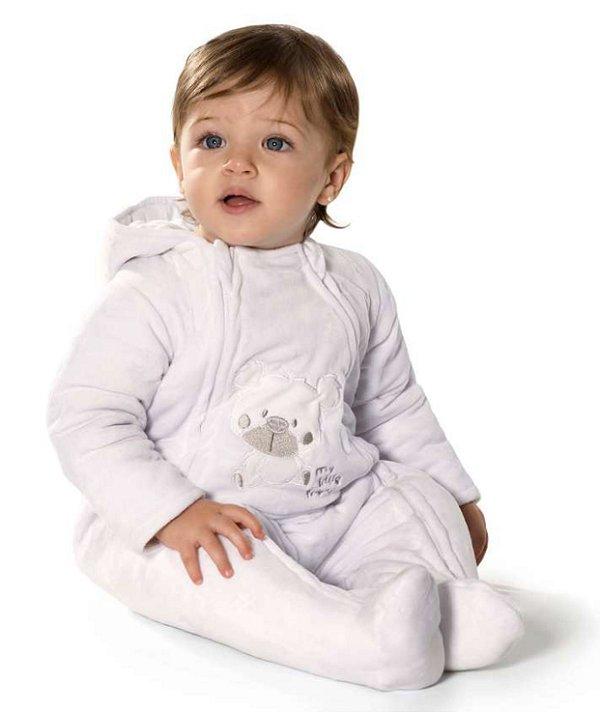 Macacão Bebê com capuz e bordado relevo em Plush - Tip Top