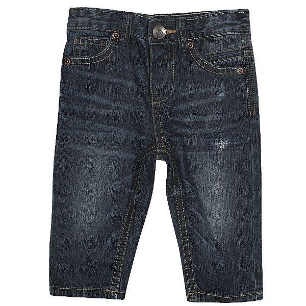 Calça jeans cerzida bebê  com regulagem- Tip Top