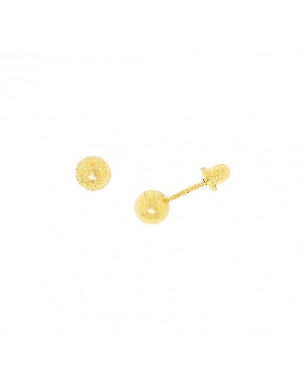 Brinco em ouro amarelo 18K de bola para recém nascido com 4mm - Bilu ... 08cde2ded5