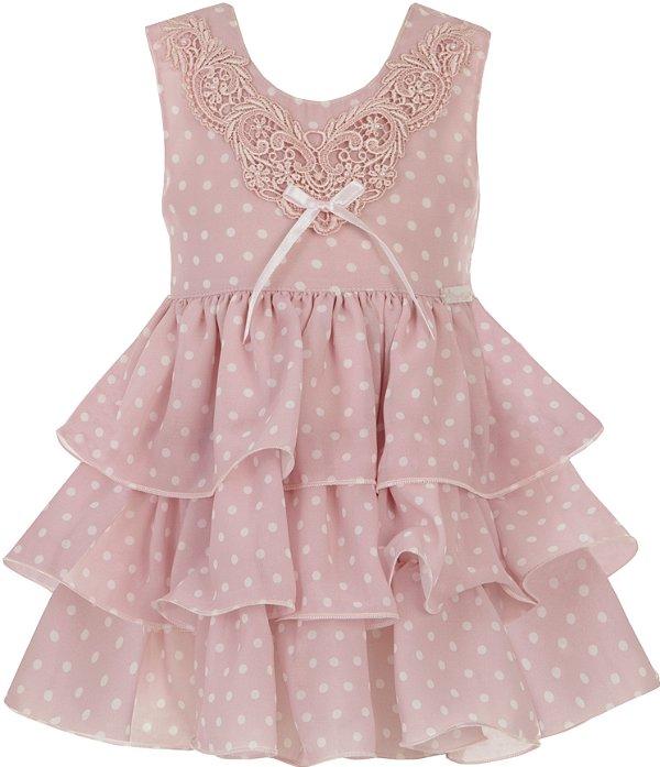 Vestido Infantil Rosa Poá com Babados e Grippir - Plinc Ploc