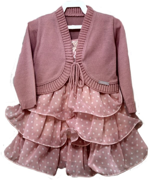 Vestido Infantil Rosa Poá com Babados e Grippir e Bolero- Plinc Ploc