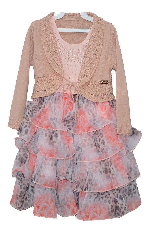 Vestido Infantil com Strass em Coral e saia Estampada com babados e Bolero - Plinc Ploc