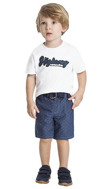 76798792f193e9 Conjunto Infantil Masculino Camiseta + Bermuda - Milon