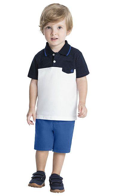 247ecae4d48100 Conjunto Infantil Masculino Camiseta polo + Bermuda Sarja com Elastano -  Milon