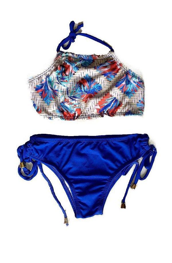 Biquini Infantil Cropped Floral Azul - Tal Mãe, Tal Filha