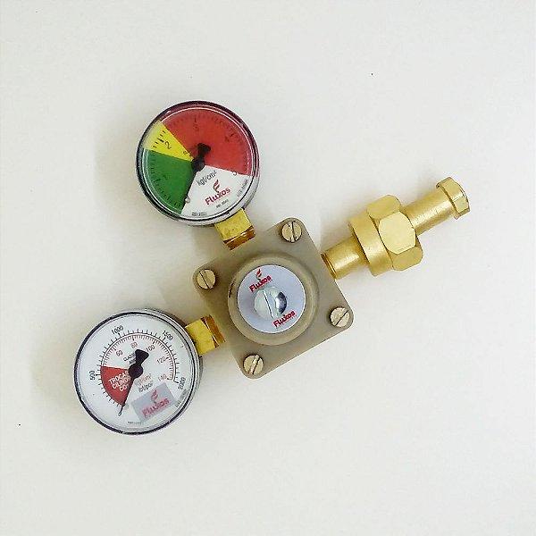 Válvula Reguladora CO2 - 2 Manômetros - 1 Saída - Chopp