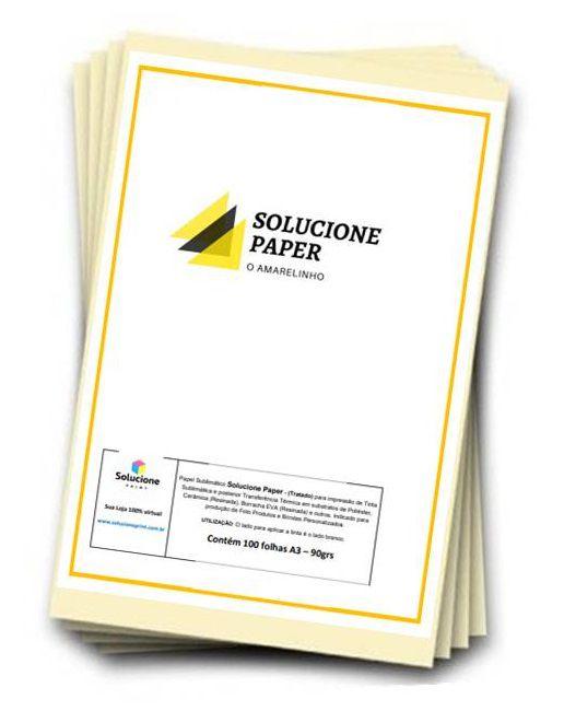 Papel Sublimatico Solucione-Paper A3 90grs c/500 folhas (Tratado-Fundo Amarelo)