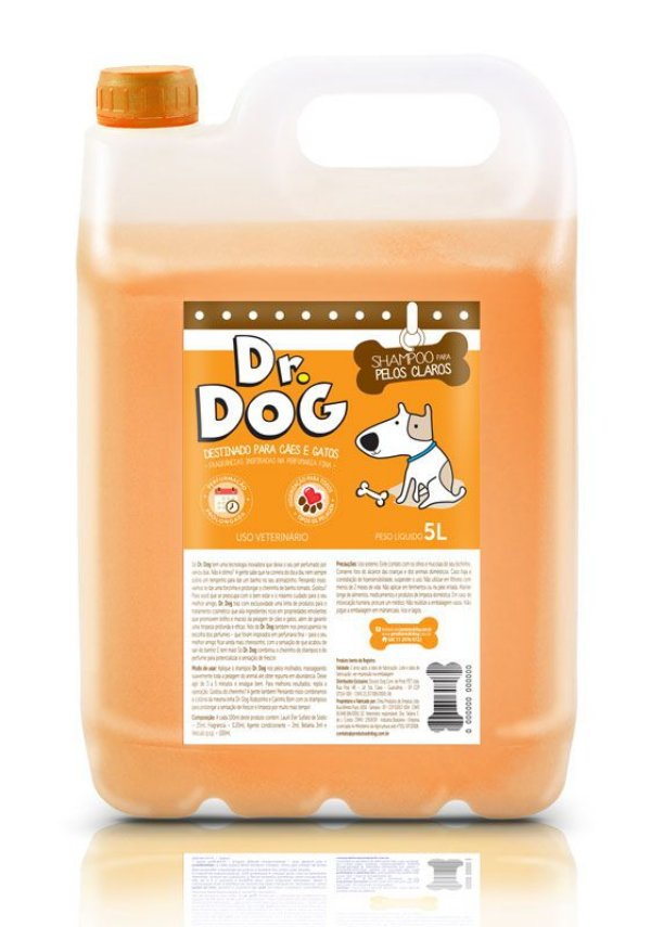 Kit Shampoo Clareador Dr Dog 5L e máscara desmaio 500ml