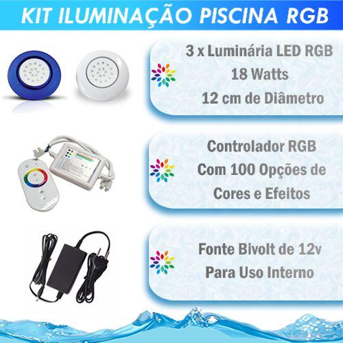 Kit Iluminação Piscina LED RGB 3x18 Watts - 12 cm
