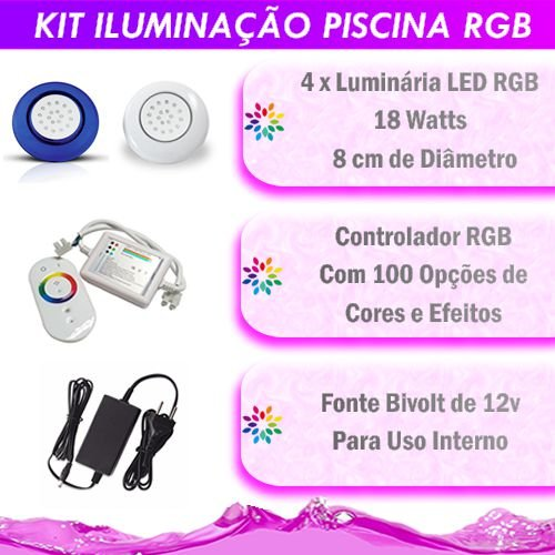 Kit Iluminação Piscina LED RGB 4x18 Watts - 8 cm