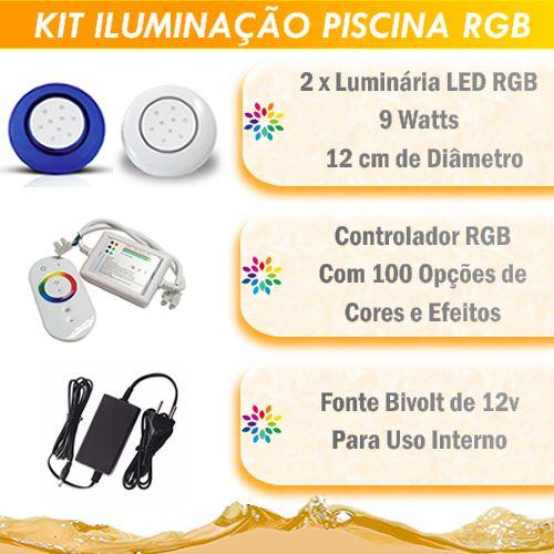 Kit Iluminação Piscina LED RGB 2x9 Watts - 12 cm