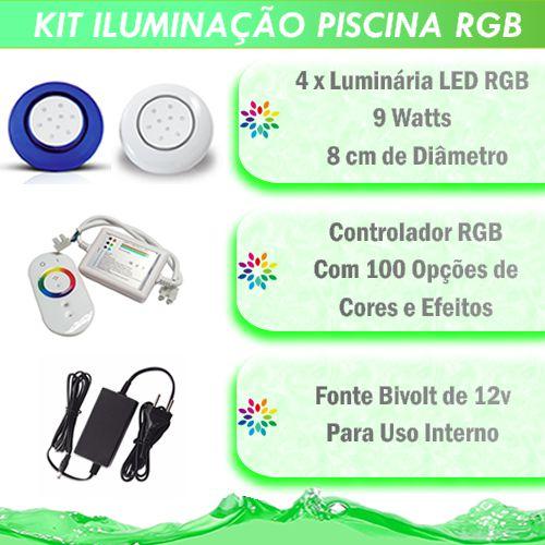 Kit Iluminação Piscina LED RGB 4x9 Watts - 8 cm