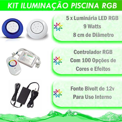 Kit Iluminação Piscina LED RGB 5x9 Watts - 8 cm