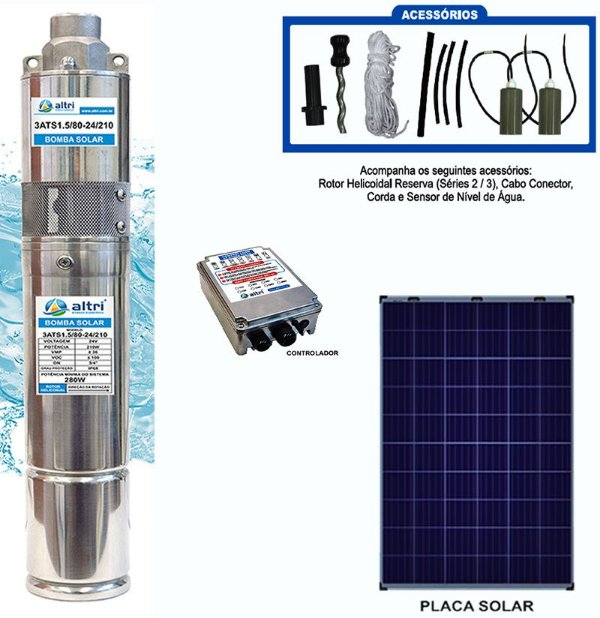 Kit Bomba Solar Submersível Altri Caneta 3AT210