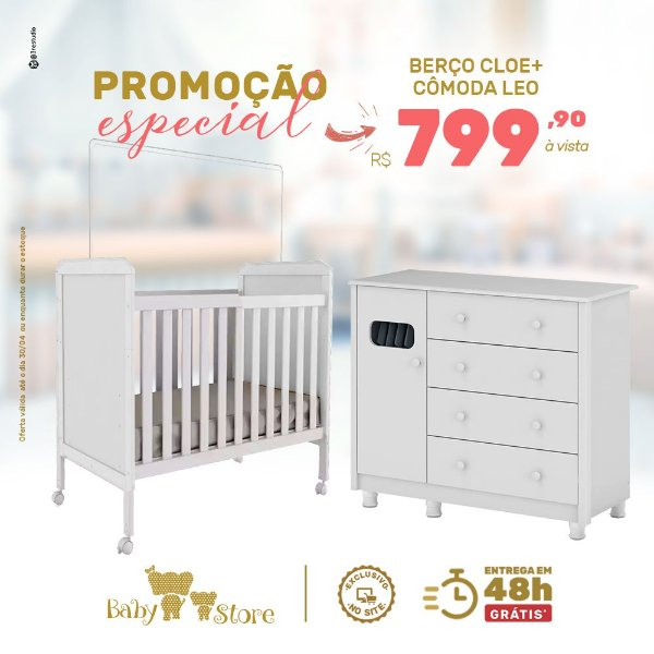 BERÇO CLOE + CÔMODA LEO