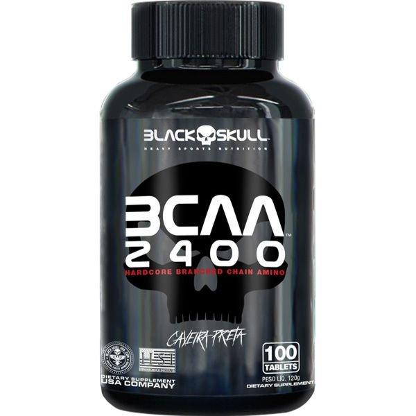 BCAA 2400 200 TABLETES Black Skull Caveira Preta