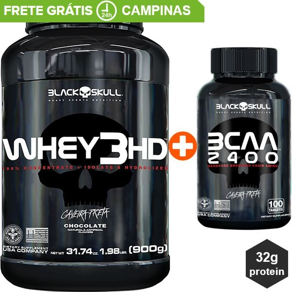 Whey 3HD 900G + BCAA 60 Tabletes Black Skull