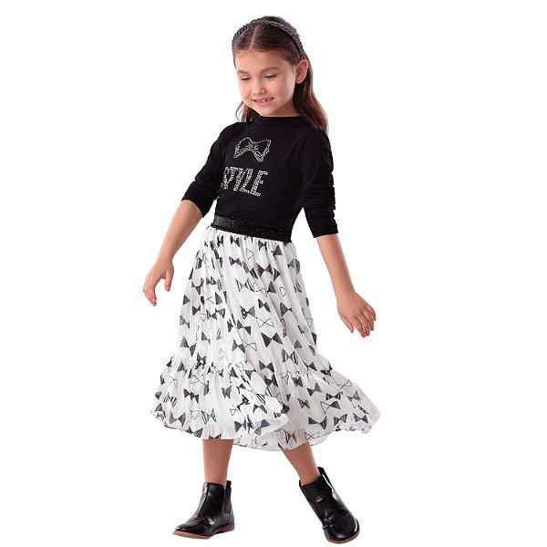 Conjunto infantil Petit Cherie blusa e saia midi com lacinho preto