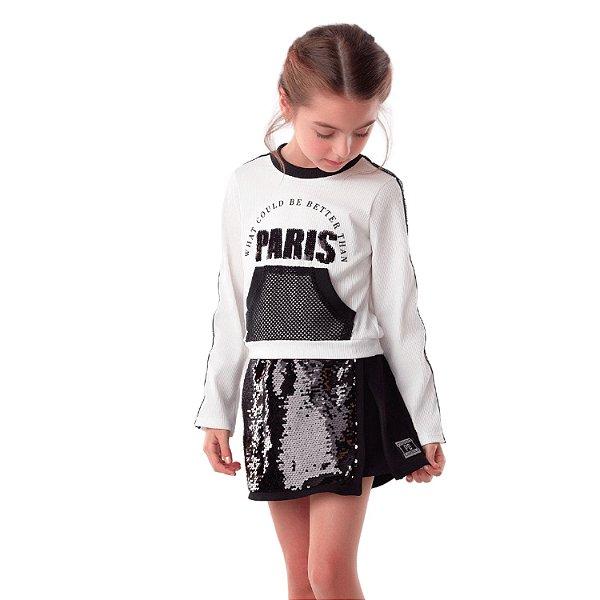 Conjunto infantil Petit Cherie blusa Paris e short-saia paetê preto