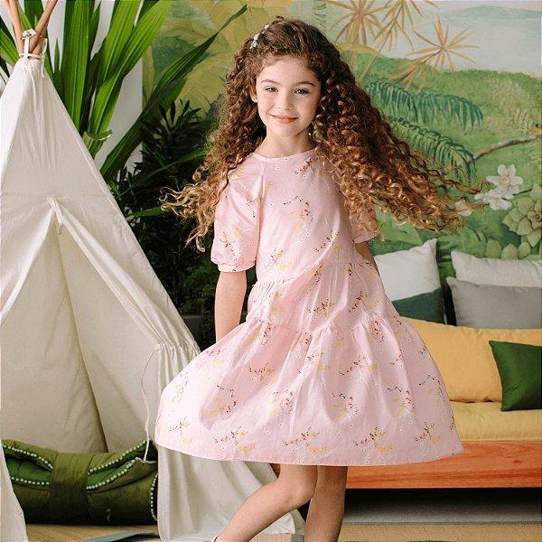 Vestido infantil Petit Cherie natural orgânico floral rosa