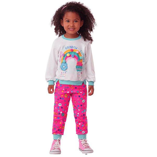 Conjunto infantil Mon Sucré joaninha e arco íris de pompom pink