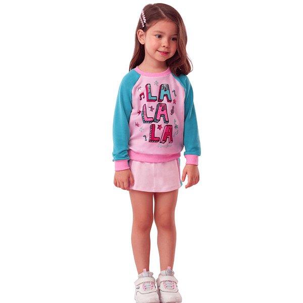 Conjunto infantil Mon Sucré blusa moletom e short-saia rosa verde