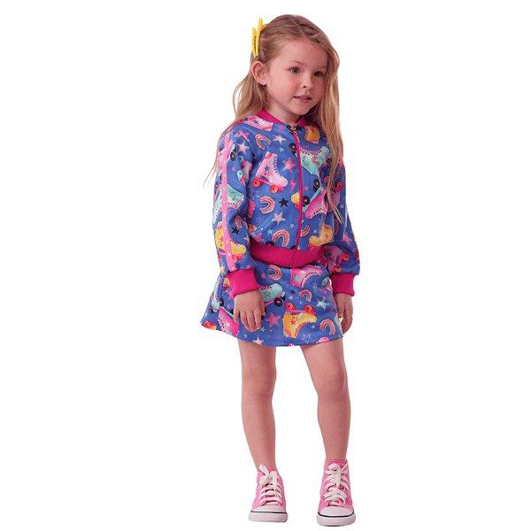 Conjunto infantil Mon Sucré jaqueta bomber saia patins azul pink Tamanho 4