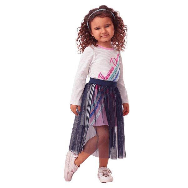 Vestido infantil Mon Sucré caneladinho com saia tule azul marinho