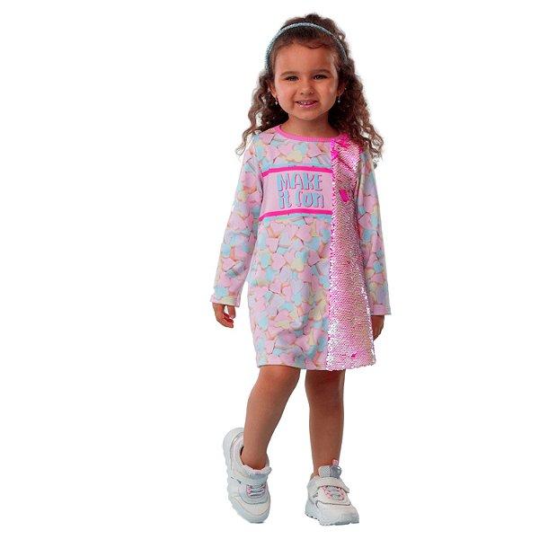 Vestido infantil Mon Sucré coração e paetês mágicos rosa
