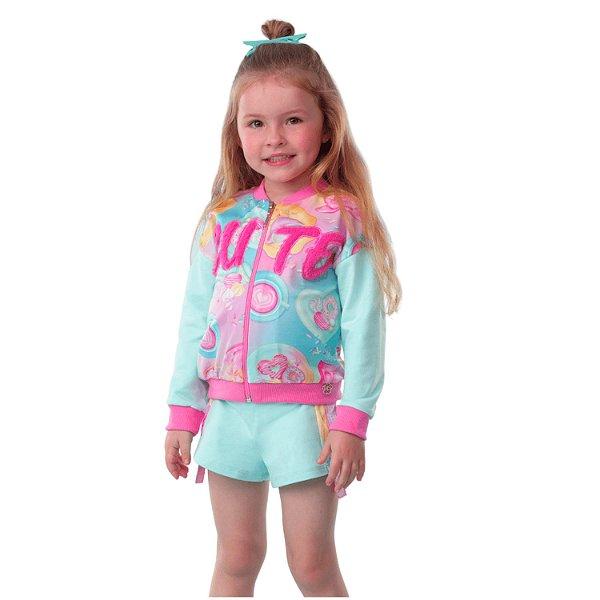 Conjunto infantil Mon Sucré jaqueta e short cute verde e rosa Tamanho 8