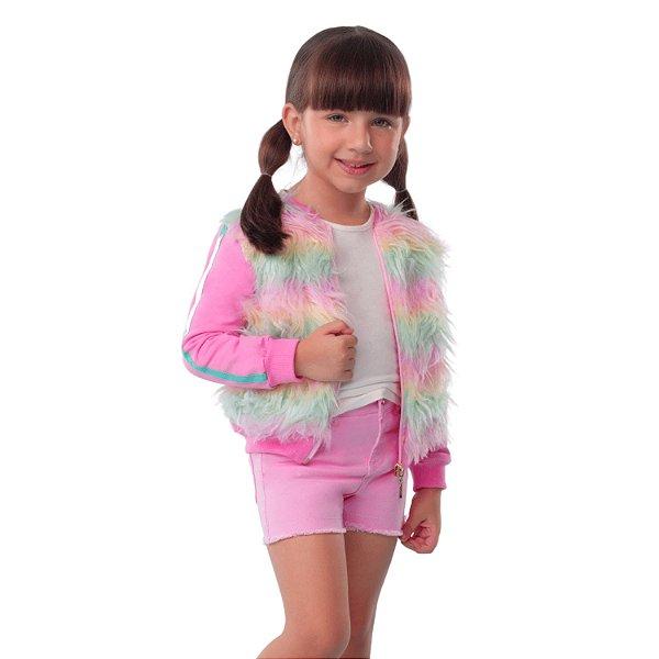 Jaqueta infantil Mon Sucré pelúcia candy color rosa Tamanho 8