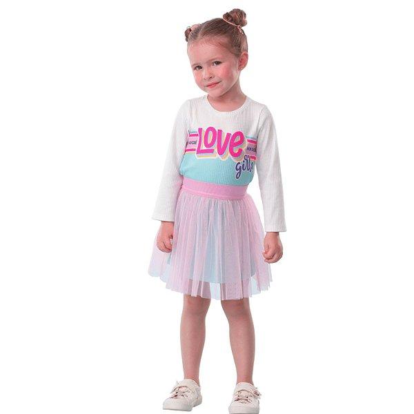 Vestido infantil Mon Sucré caneladinho love saia de tule rosa