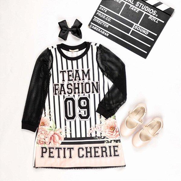 Vestido infantil Petit Cherie casual inverno manga telinha