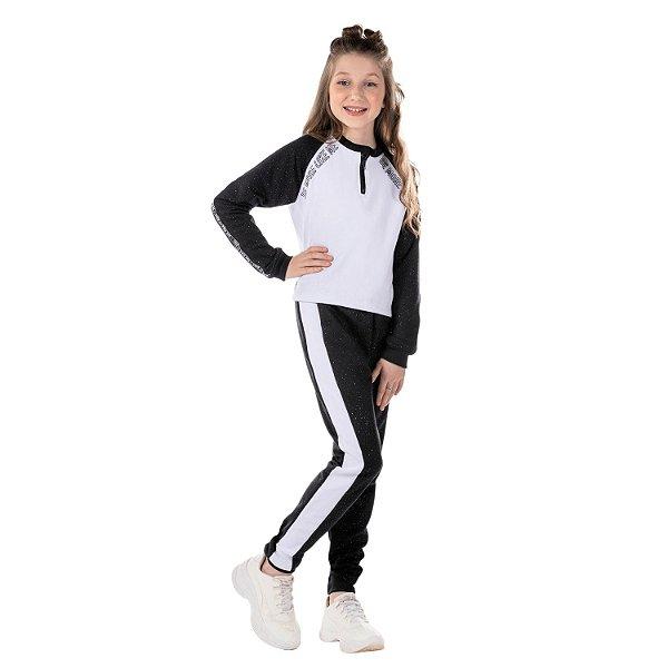 Conjunto infantil de moletom menina preto e branco com brilhinho